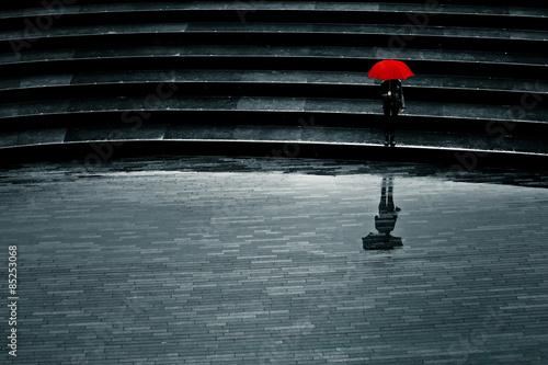 Fotografie, Obraz Parapluie Seul osamělost triste deprese