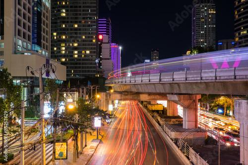Traffic lighting on Sathon road,Sathon road is business centre of Bangkok,Thaila Canvas Print