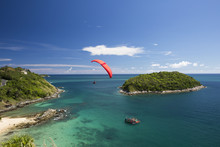 Sail Of A Paraglider In A Blue Sky Over The Sea