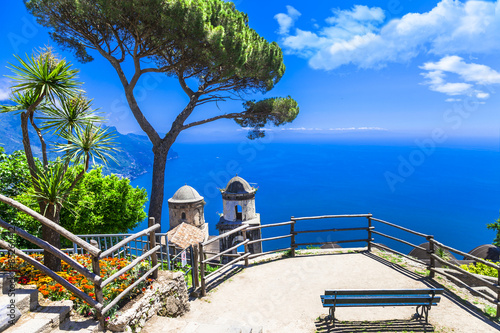 Poster Cote beautiful Ravello village,view with church. Amalfi coast, Italy