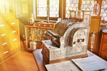 Vintage Cash Register In An Ol...