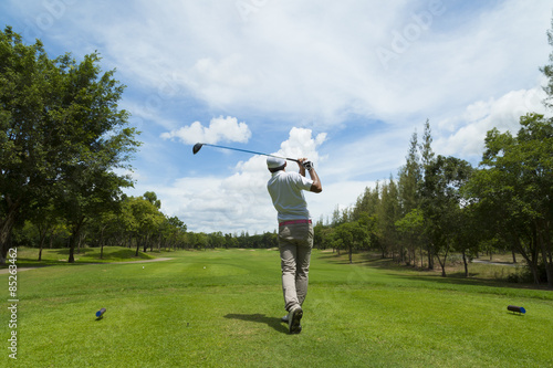 widely golf  course in very nice day summer with player - 85263462
