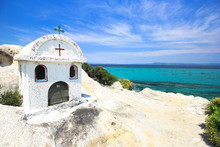 Little Church On A Rock Overlooking The Sea, In Sithonia, Chalki