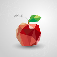Juicy Apple Polygon . Vector I...