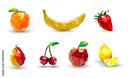 Fruit set of polygons . Apple, lemon , cherry, banana, orange, s - 85269694