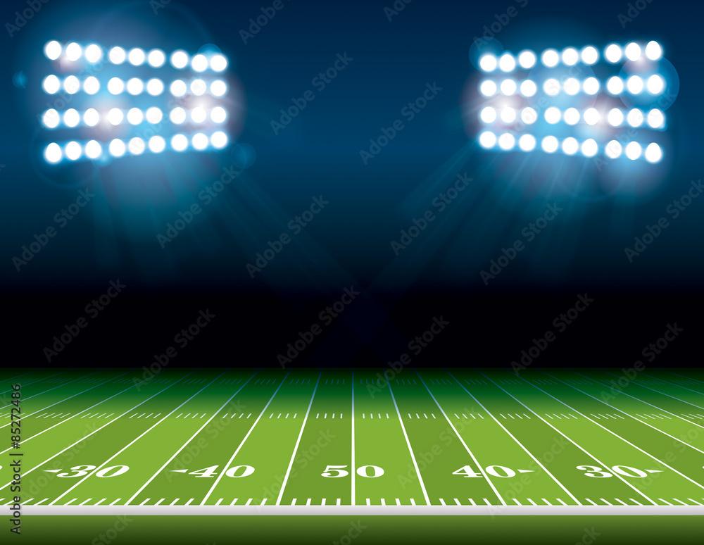 Fototapeta American Football Field with Stadium Lights