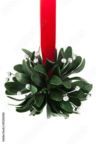 Fotografie, Obraz  Mistletoe with silver berries and red ribbon, isolated on white background