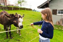 Cute Little Girl Feeds Donkey ...