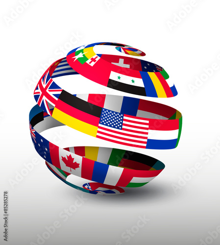 Cuadros en Lienzo  Globe made of a strip of flags. Vector.
