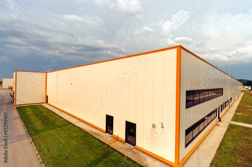 Staande foto Industrial geb. Aluminum facade on industrial building