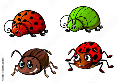 Leinwand Poster Ladybugs, glowworm, colorado beetle cartoon characters