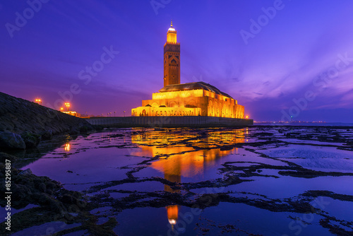 Hassan II Mosque during the sunset in Casablanca, Morocco Fotobehang