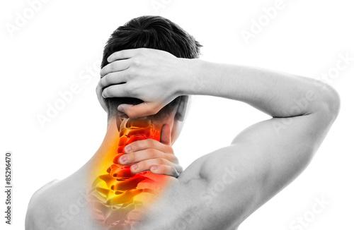 Fotografia  Neck Pain - Male Anatomy Sportsman Holding Head and Neck - Cervi