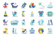 Newborn Baby Boy Icons Set.Baby Shower Kit