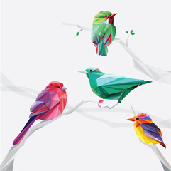 Fototapetalow polygon style colorful birds on tree branches set collection