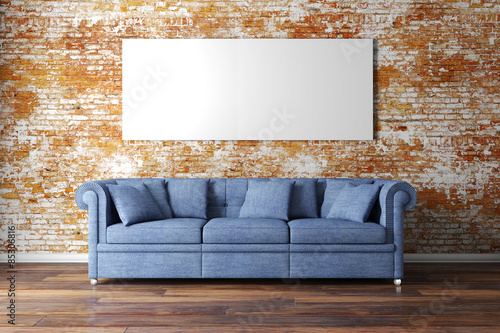 Tablou Canvas 3d interior setup with couch and blank poster