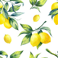 Fototapeta A seamless lemon pattern on white background.