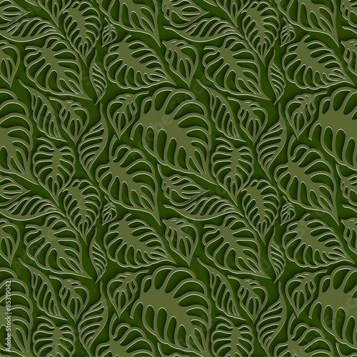 Fototapety, obrazy: Vector Leaves 3d Seamless Pattern Background