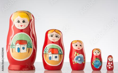 Tableau sur Toile Russian dolls line up.