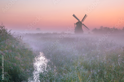 Polder landscape with traditional windmill