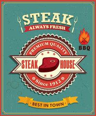 FototapetaVintage steak house poster design