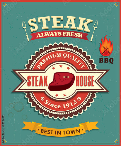 Vintage steak house poster design - 85324671