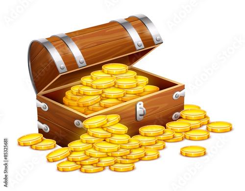 Fotografie, Obraz  Pirates trunk chest full of gold coins treasures. Eps10 vector
