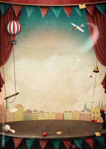 Fototapeta Bright background with various circus objects for illustrations and posters