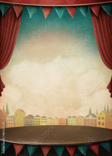 Fotografia  Bright background with various circus objects for illustrations and posters