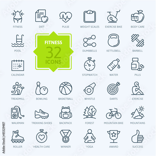 Fotografie, Obraz  Outline web icon set - sport and fitness