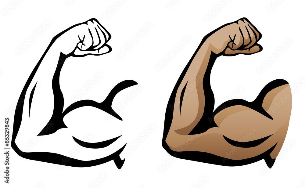 Fotografie, Obraz Muscular Arm Flexing Bicep Isolated Vector Illustration