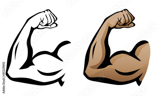 Canvas Print Muscular Arm Flexing Bicep Isolated Vector Illustration