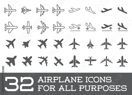 Aircraft or Airplane Icons Set Collection Vector Silhouette Wallpaper Mural