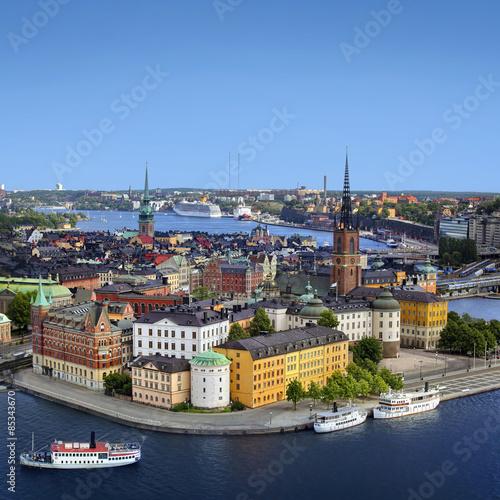 In de dag Noord Europa Panorama of Stockholm, Sweden