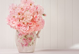 Bouquet of pink roses in a vase