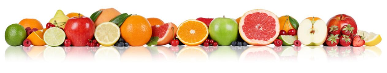 Fototapeta na wymiar Früchte Orangen Zitronen Apfel Erdbeeren in einer Reihe