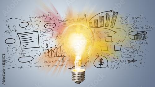 Fotografie, Obraz  Marketing, lightbulb, element.