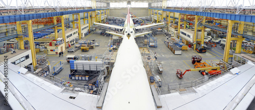 Airplane construction in a hangar