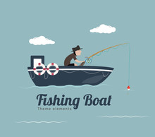 Fishing On The Boat. Vector Flat Styled Illustration.