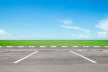 Empty Parking Area With Sky  Landscape