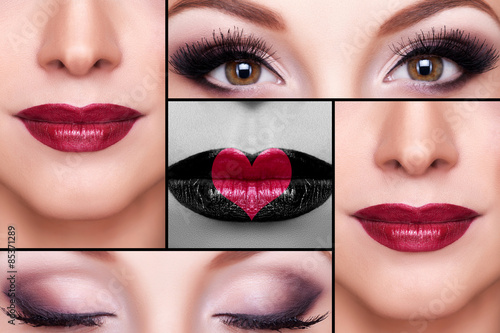 Fotografie, Obraz  Make up collage of eyebrows, eyelashes and lips