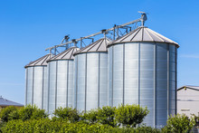 Four Silver Silos In Field Und...