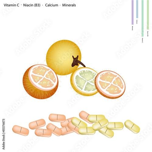 Fotografie, Obraz  Bolo Maka Fruits with Vitamin C, B3 and Calcium