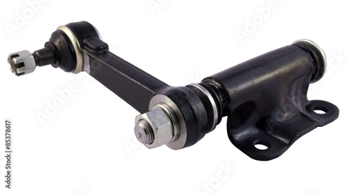 Fotografering Idler Arm isolated on white background. New auto parts for cars.