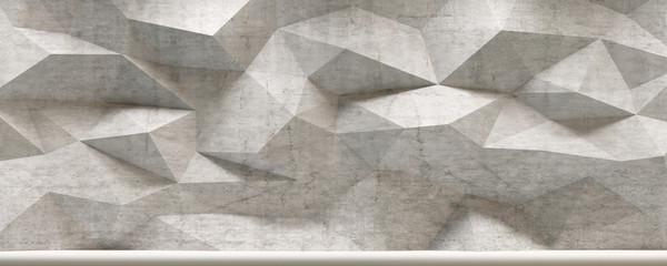 Concrete 3d Polygon Wall Interior