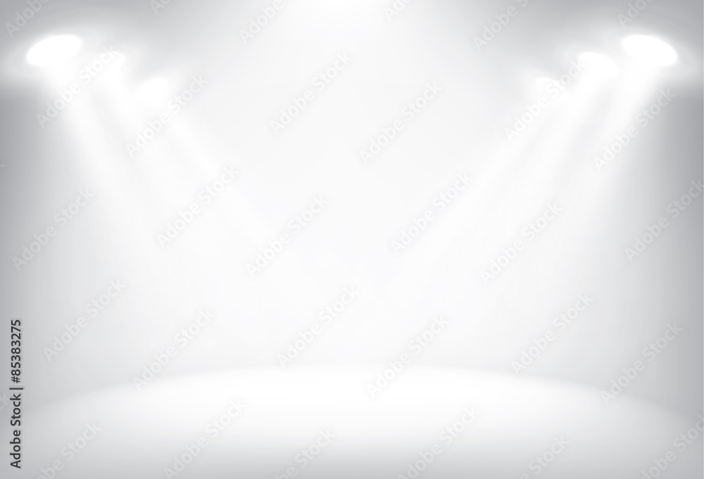 Fototapeta Illuminated stage with scenic lights vector background