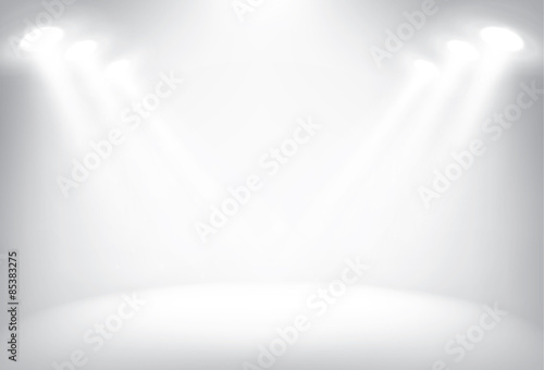 Fototapeta Illuminated stage with scenic lights vector background obraz