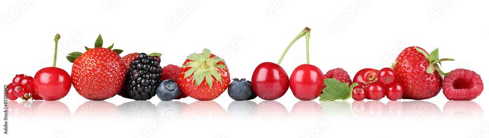 Fototapety, obrazy: Beeren Früchte Erdbeeren Himbeeren Kirschen in einer Reihe