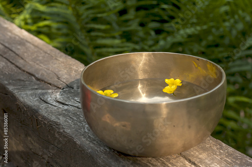 Canvas Prints Spices yellow flowers floating in a tibetan bowl
