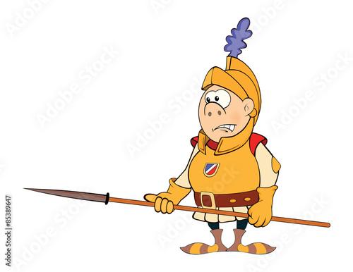 Illustration of a cartoon knight